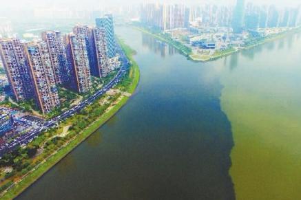 """长沙市浏阳河与湘江交汇处""""泾渭分明"""""""