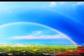 长沙开福区太阳山现雨后双彩虹美景