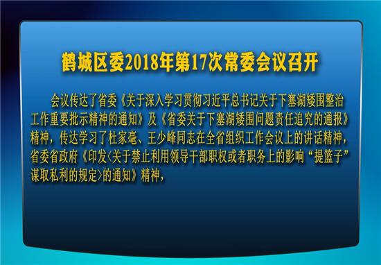 鹤城区委2018年第17次常委会议召开