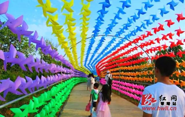 小风车迎风旋转,游客在生态农业园中游玩嬉戏,其乐融融。.jpg