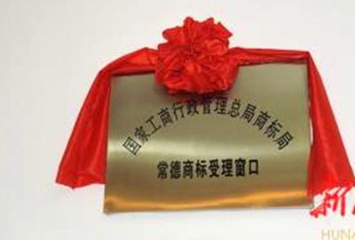 常德商标受理窗口颁发首张商标注册证
