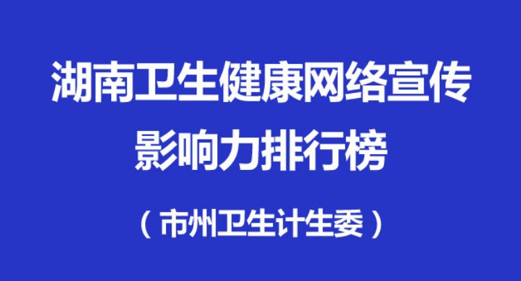 2018湖南卫生健康网络宣传影响力排行榜(市州)