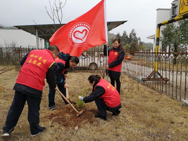 """3月12日,郴州管理处楚江收费站组织志愿者开展""""种下一棵树•守护平安路""""为主题的义务植物活动。此次活动丰富了员工的组织生活,提高了团队凝聚力,提升广大职工植绿、护绿、爱绿意识。通过开展植树活动,大力弘扬植树造绿,树立绿色文明意识、改善环境新风尚。 (1)_副本.jpg"""