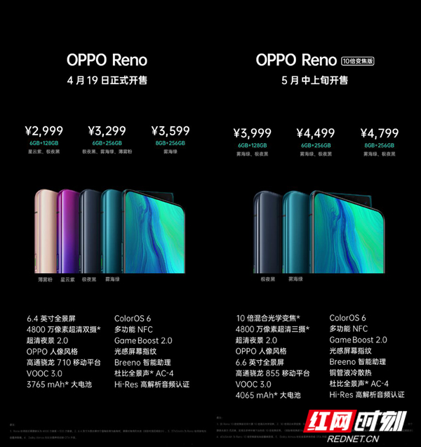 湖南OPPO Reno系列发布 4月19日起售