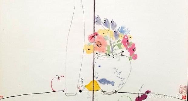 水墨是一缕乡愁:读蒋奇谷的水墨瓶花