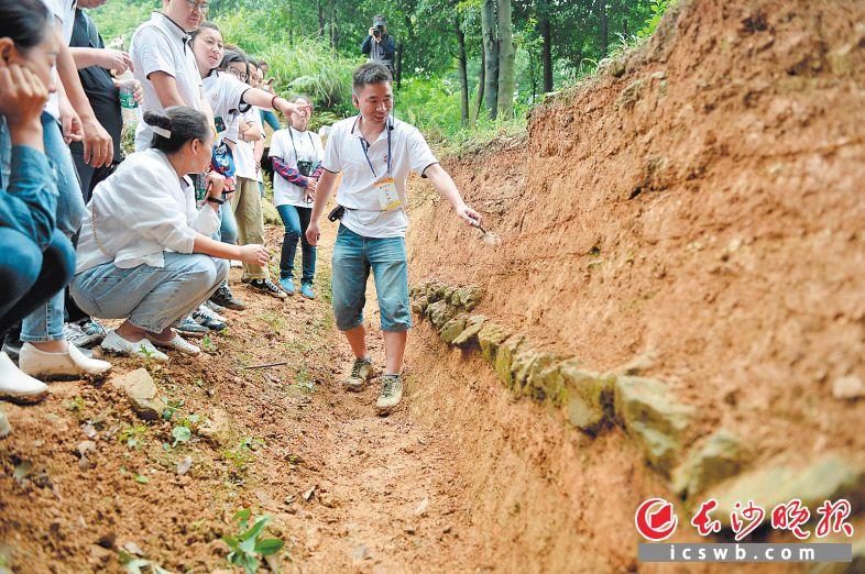 """6月13日,一场以""""汉代长沙国王陵遗址探秘""""为主题的公众考古活动在马坡山-庙坡山西汉王陵考古工地进行。"""