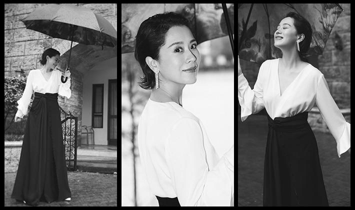 海清写真曝光 白衣黑裙大气优雅
