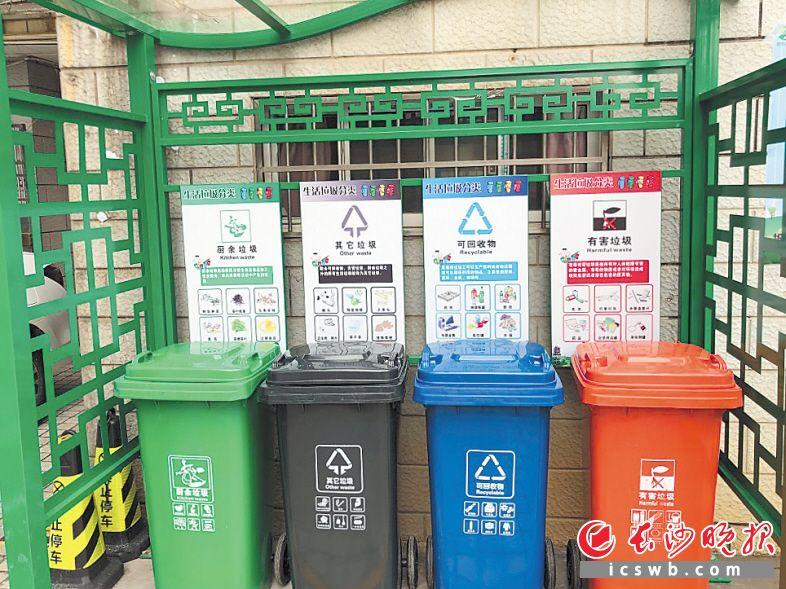 岳麓区航空母舰小区的垃圾分类定点投放站,摆放着4个不同颜色的垃圾桶,分别存放不同的垃圾。长沙晚报通讯员 彭毓妍 摄