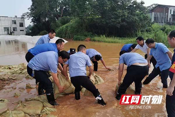 """城管""""蓝"""":抗洪抢险 长沙岳麓城管在行动。"""