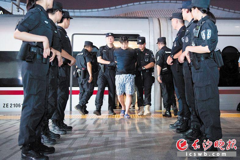 犯罪嫌疑人陆海洋等人被押解回长沙。   长沙晚报全媒体记者 黄启晴 摄