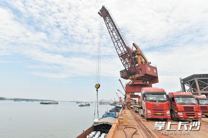 """在长沙新港码头,门吊、岸吊的吊臂在空中""""忙碌""""。"""
