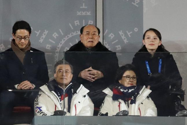 韓國平昌冬奧會,文在寅夫婦與朝鮮高官一起看比賽。(韓聯社)