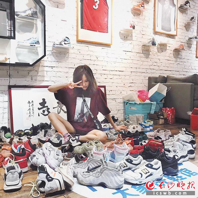 收集潮鞋成年轻人的爱好。  受访者供图