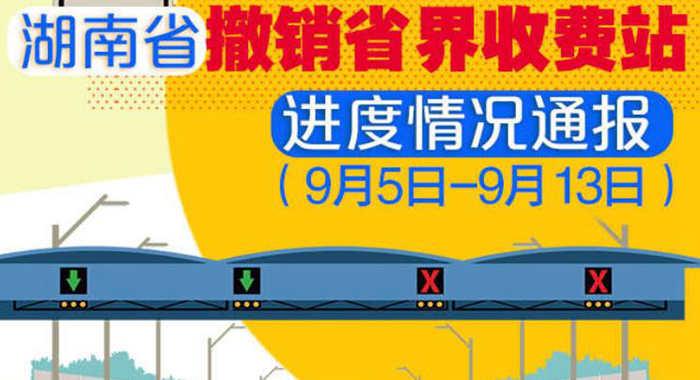 湖南省撤销省界收费站进度情况通报(9月5日——9月13日)