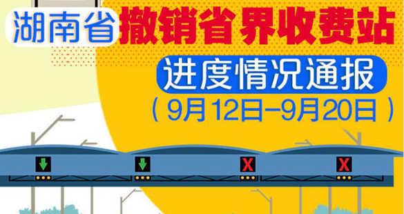 湖南省撤销省界收费站进度情况通报(9月12日——9月20日)