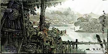 生命的呐喊-----我读刘华旺的老木房子山水画