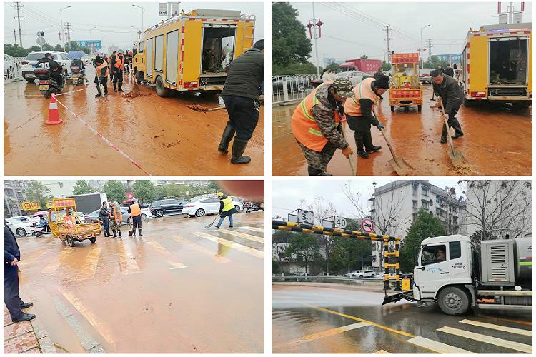城管局:二大桥桥头突发路面污染 环卫部门紧急清理
