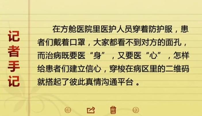 湖北武汉 战疫情·方舱日记 方舱里行走的二维码