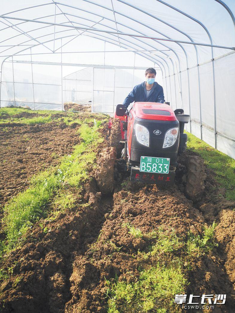 望城区靖港镇农业技术员在翻耕田地。朱华摄