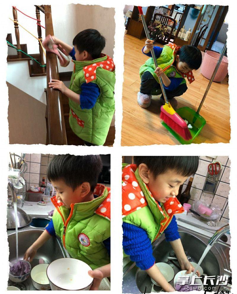 天心区幼幼幼儿园萌娃在家干家务活。