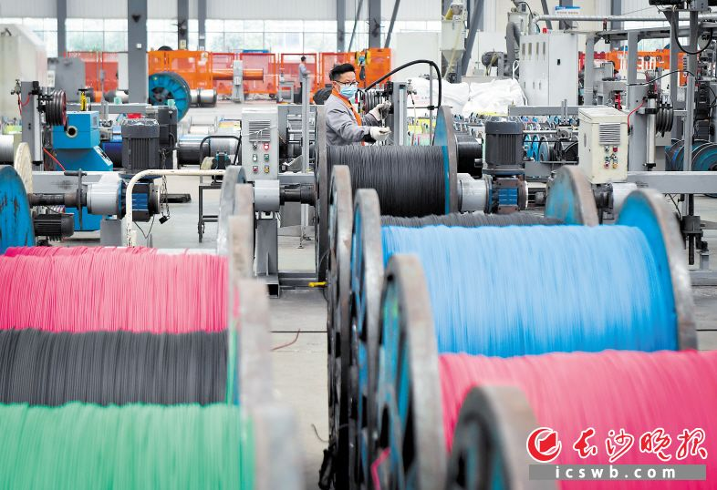 为满足市场需求增长,恒飞电缆长沙基地复工后,正在抓紧生产。长沙晚报全媒体记者 邹麟 摄