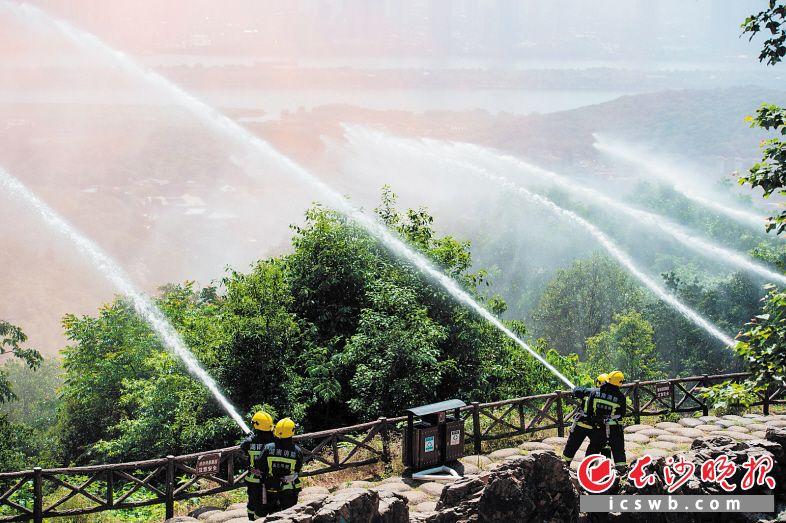 5月12日,长沙森林灭火应急演练在岳麓山上举行。  长沙晚报全媒体记者 邹麟 摄