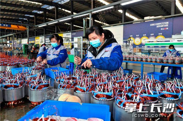 2月19日,万鑫精工生产车间内,戴着口罩的工人们在紧张生产。随着制造企业的相继复工,万鑫精工的减速机订单迎来了爆发式增长。 长沙晚报全媒体记者 王志伟 摄