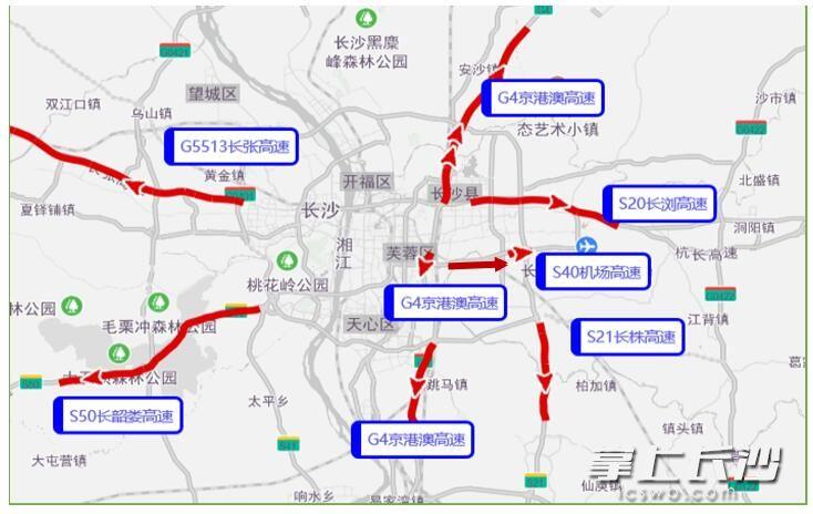 6月24日长沙市周边高速易拥堵缓行出城路段