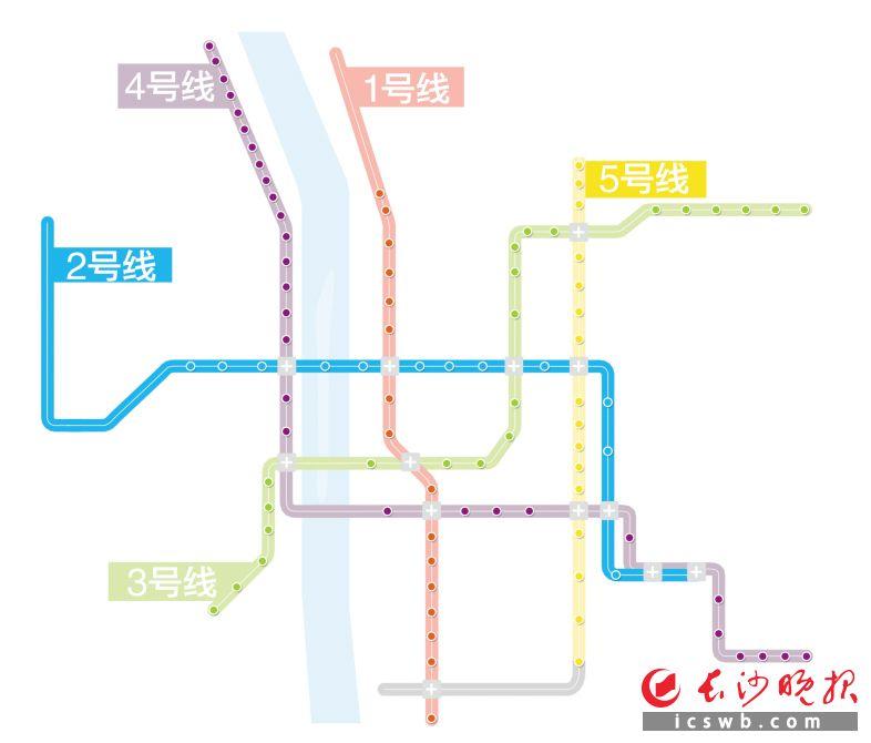 长沙五彩地铁网络  制图/王斌