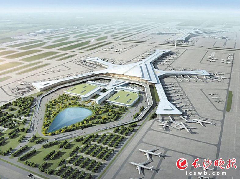 长沙黄花国际机场T3航站楼效果图。  资料图片