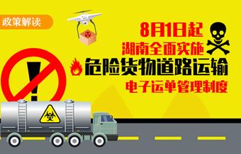 湖南实施危险货物道路运输电子运单管理
