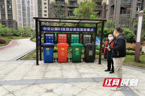 芙蓉区中交公园D1区内指导员孙进正在指导垃圾分类工作.jpg