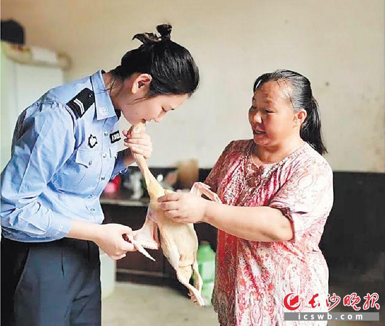 女警为做好直播,提着已经宰杀好的鸭子仔细研究。长沙县公安局 供图