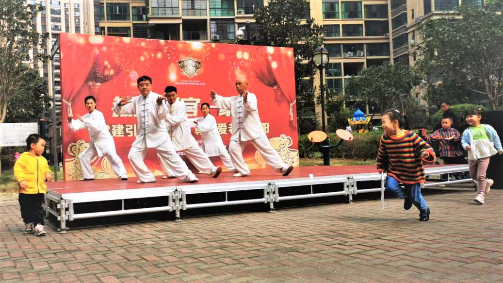 在宁乡玉潭街道合安社区铂金汉宫小区,健康老人们演示太极拳。受访方供图