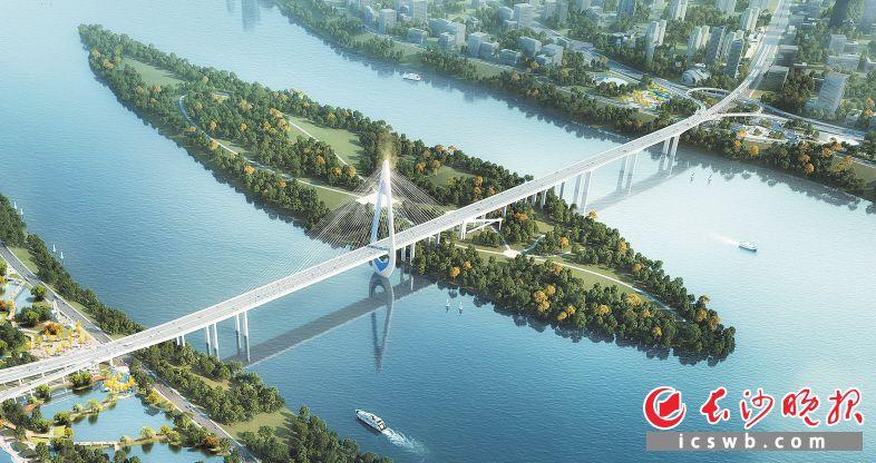 """香炉洲大桥建成后,将助推望城迈入""""湘江时代""""。图为项目效果图。"""