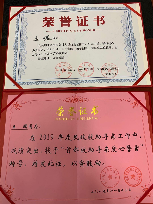 所获荣誉证书。
