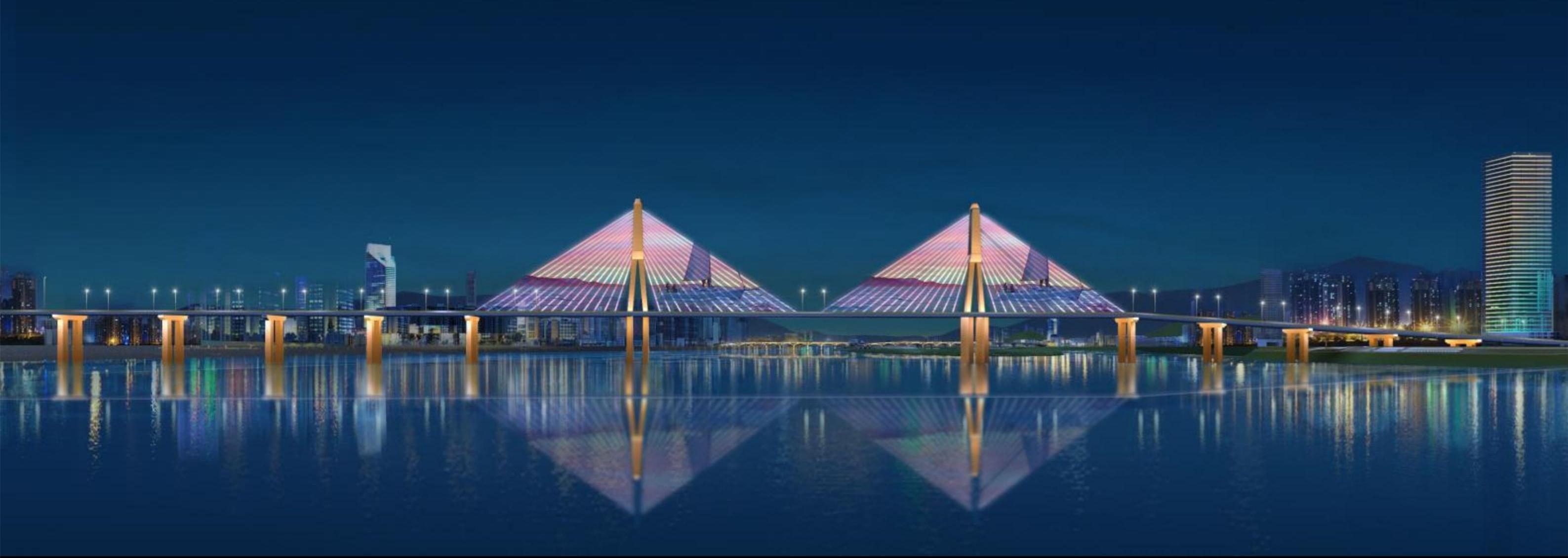 图为银盆岭大桥提质效果展示。
