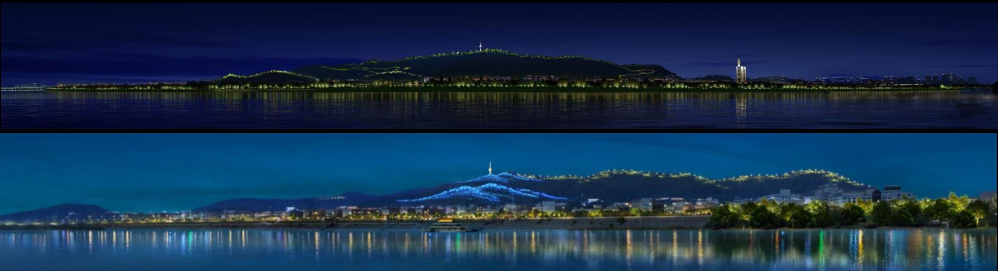 长沙将对三汊矶大桥至黑石铺大桥全长约20公里湘江两岸城市照明设施进行补齐性提质升级。图为岳麓山现状与提质后效果对比图。均为资料图片