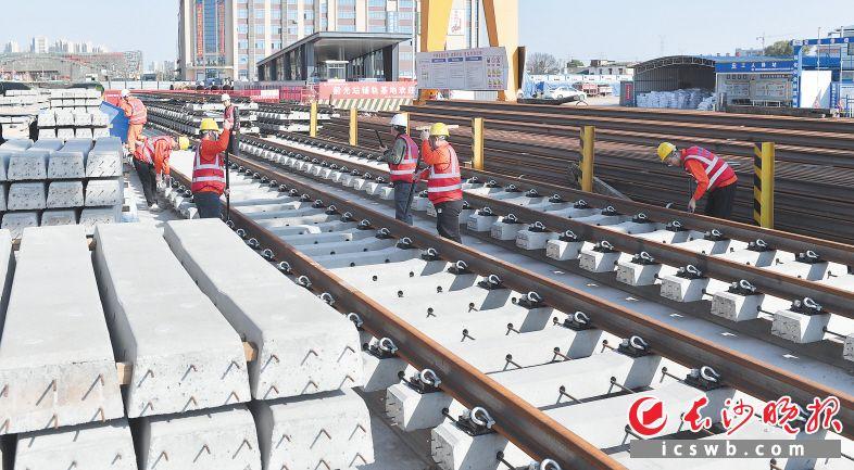 在地铁6号线韶光站,工人们正在进行铺轨施工。长沙晚报全媒体记者 邹麟 摄