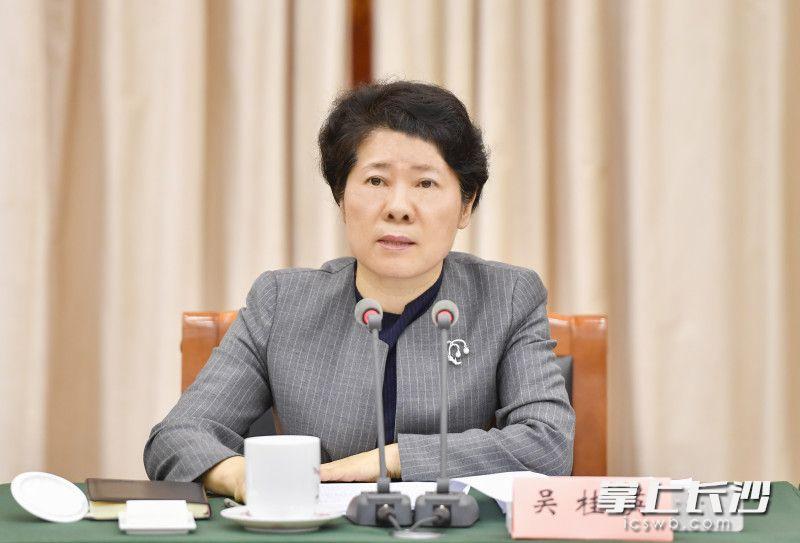 省委常委、省政府副省长、市委书记吴桂英在会上讲话。长沙晚报全媒体记者 余劭劼 摄