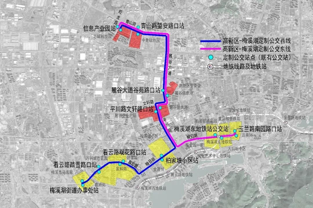 """第一批""""智慧定制公交""""分东线及西线,主要服务高新区及梅溪湖片区。"""
