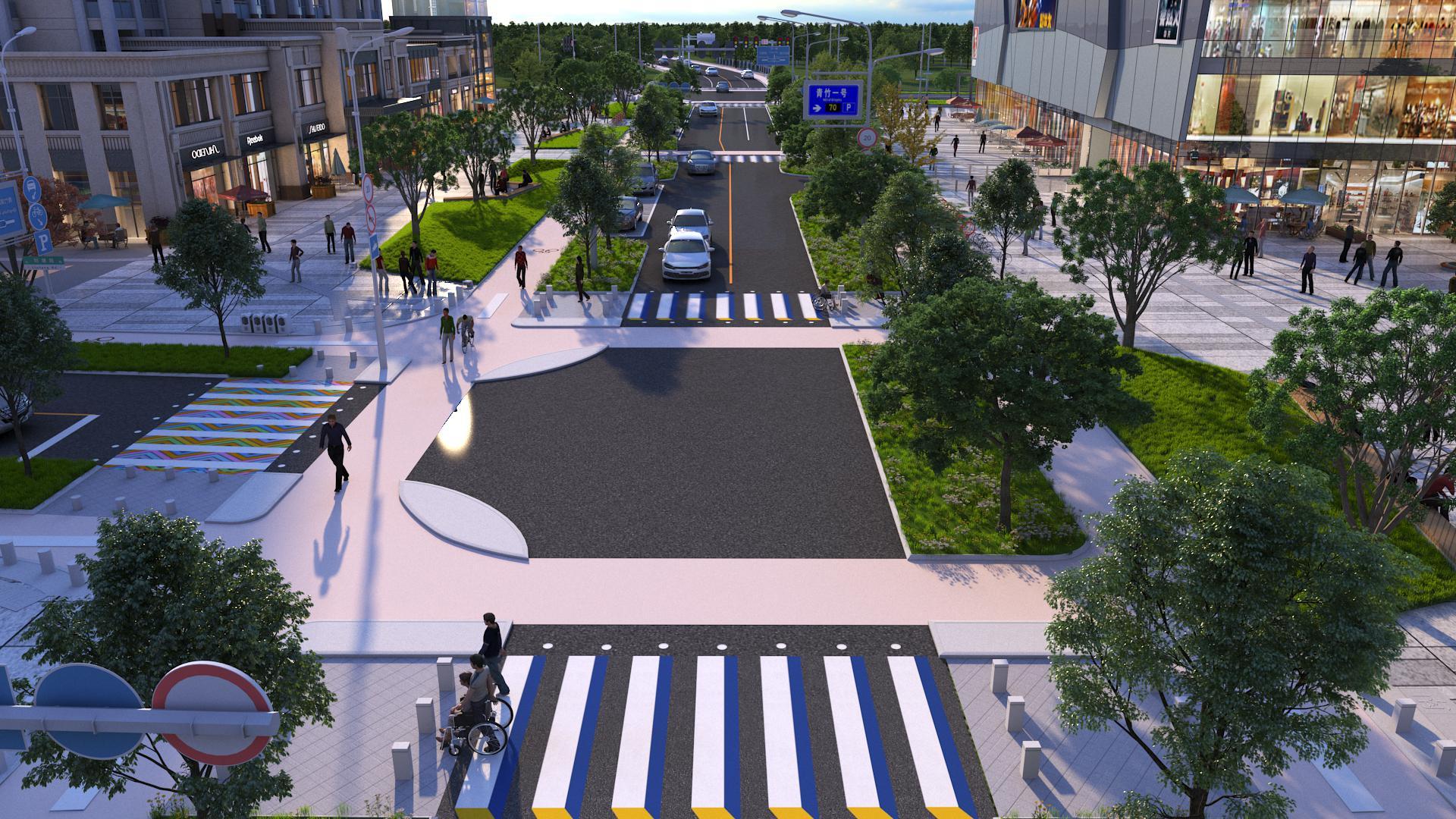 青竹湖统征储备土地道路配套设施建设项目将人行道与建筑前区统一规划、合并设置,在不增加开发成本的条件下,改善城市景观的同时,增加更多建筑底商人气。