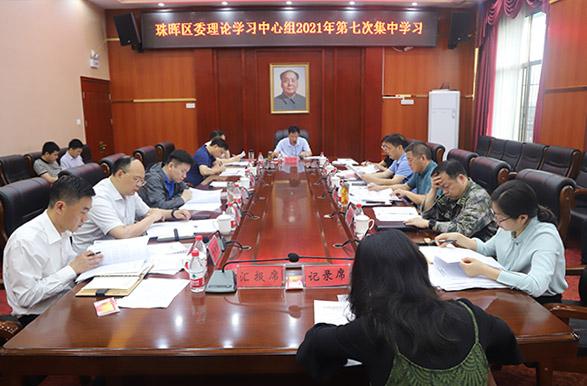 珠晖区委理论学习中心组举行2021年第七次集中学习