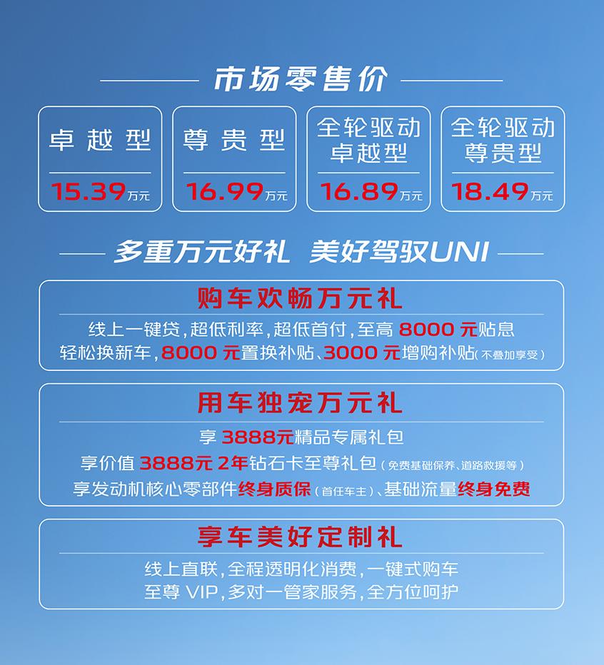 长安UNI-K正式上市 售15.39-18.49万元